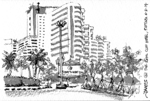 Royal Cliff Hotel. Ink and water brushing.